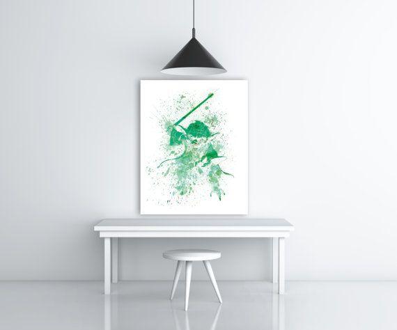 Star Wars Yoda Watercolor Splash Art, Yoda Print, Star Wars Wall Decor, Yoda Painting Art, Jedi Master Yoda Art, Green Art, Yoda Poster