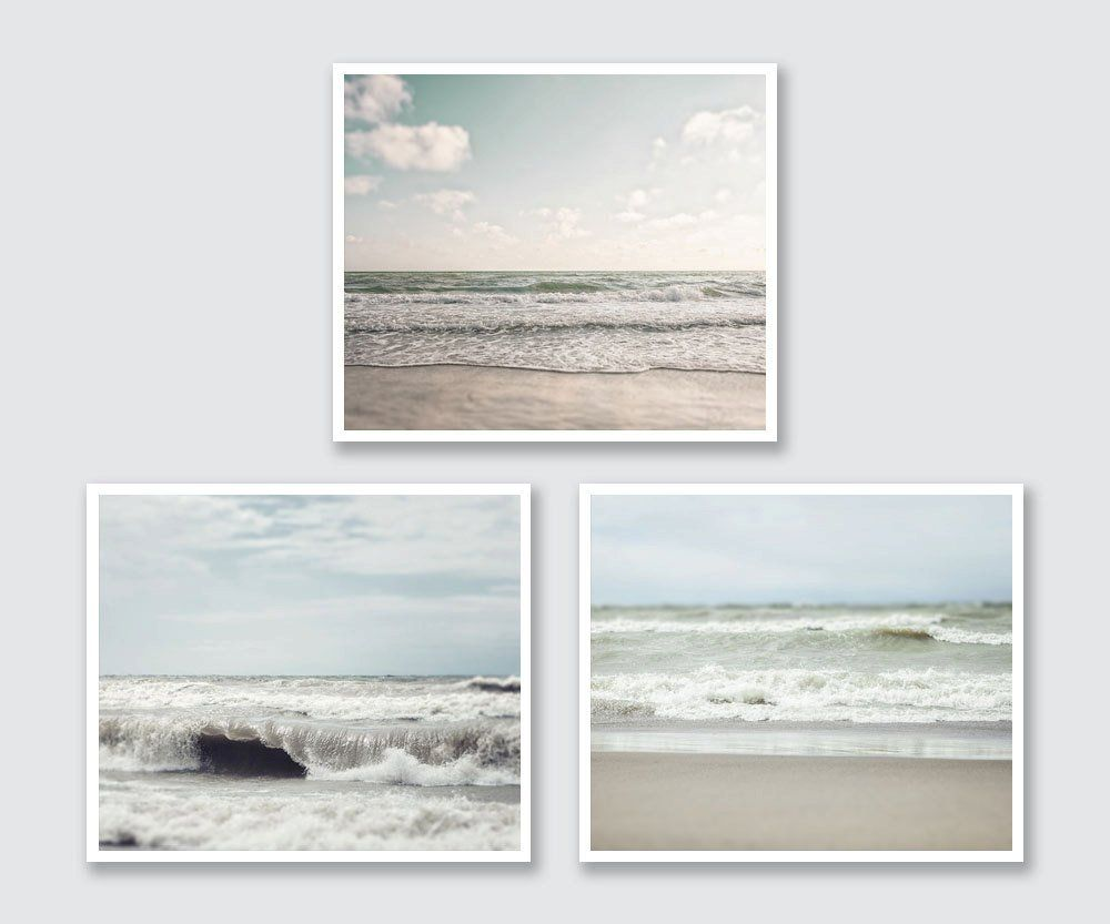 Bathroom wall art sea - Beach Print Set Of Ocean Photographs Discount Rustic Bathroom Wall Art 3 Unframed Horizontal Beach Photographs