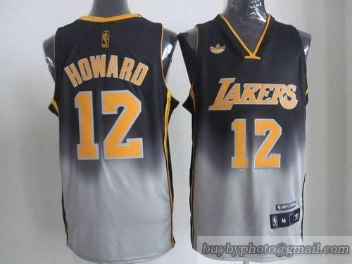 Lakers  12 Dwight Howard Black Grey Fadeaway Fashion Embroidered NBA Jersey bcbfac1a3