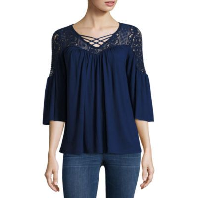 a.n.a 3/4 Sleeve Solid Peasant Top - JCPenney