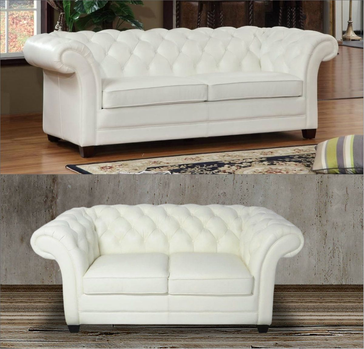 This Luxurious Chesterfield Sofa And Loveseat Set Boasts