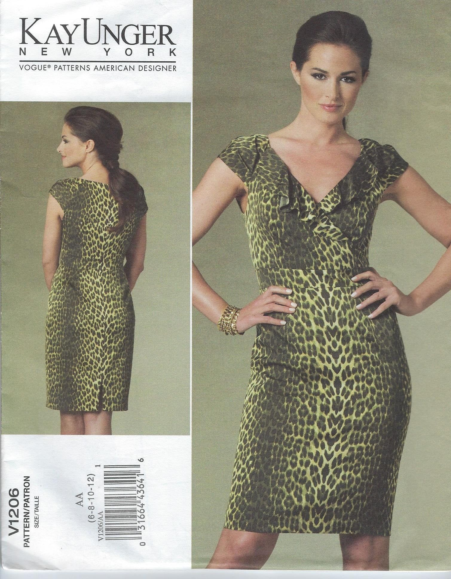Vogue Sewing Pattern Dress Fitted Lined Simple V Neck Easy To