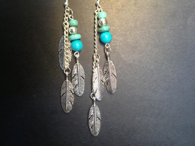 Turquoise gemstone Feather earrings by Tribal Gypsy. by XXTribalGypsyXX on Etsy https://www.etsy.com/listing/197882729/turquoise-gemstone-feather-earrings-by