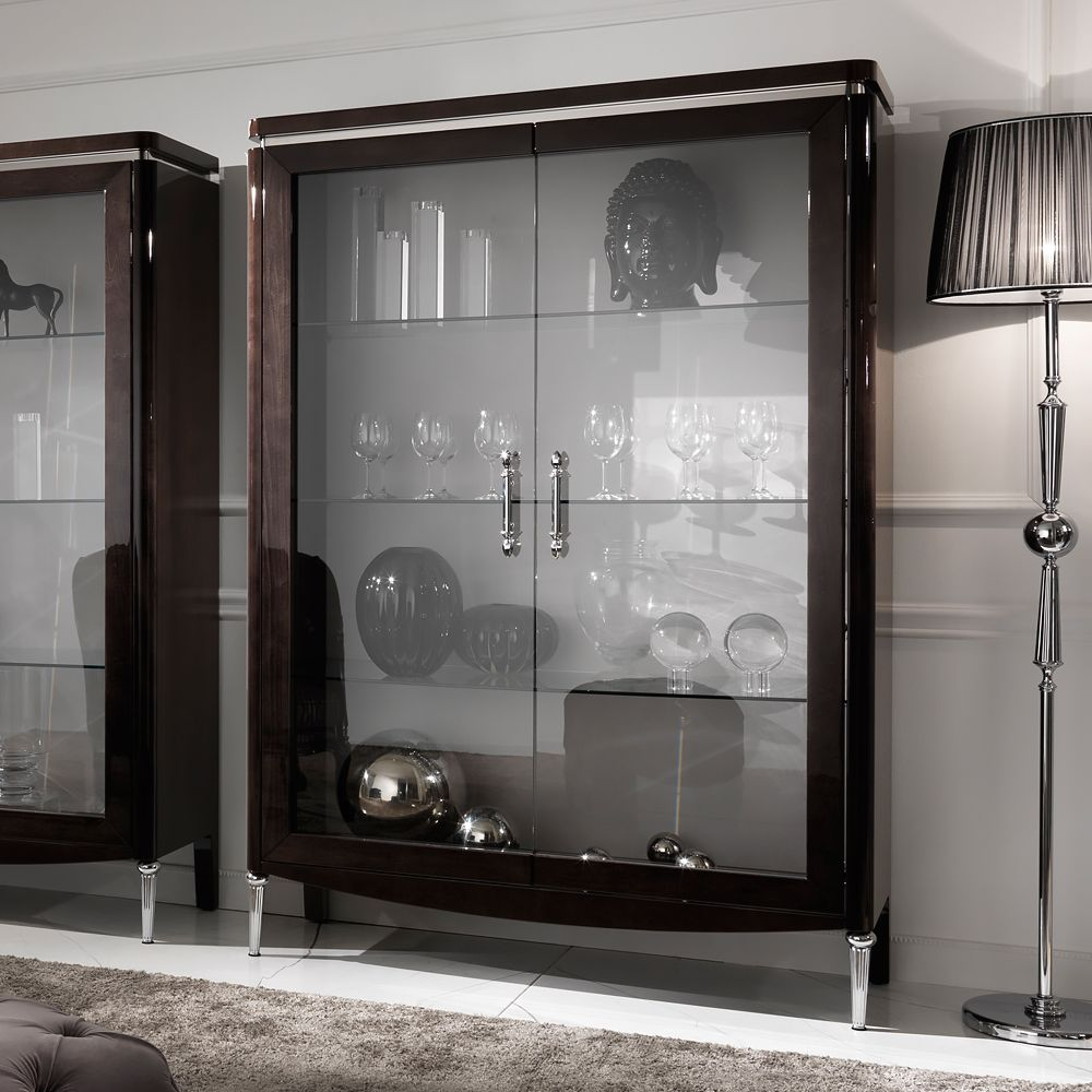 Large Luxury Walnut Veneer Italian Display Cabinet
