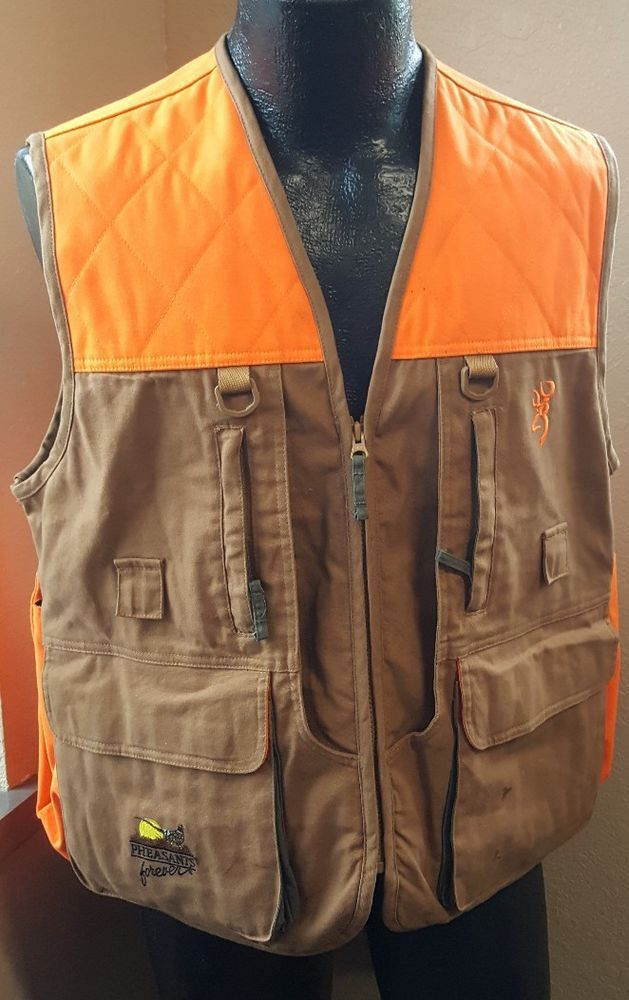 ff28478b4db7e Browning Pheasants Forever Upland Size Small Tan Field Vest Hunter Orange  Bird #Browning
