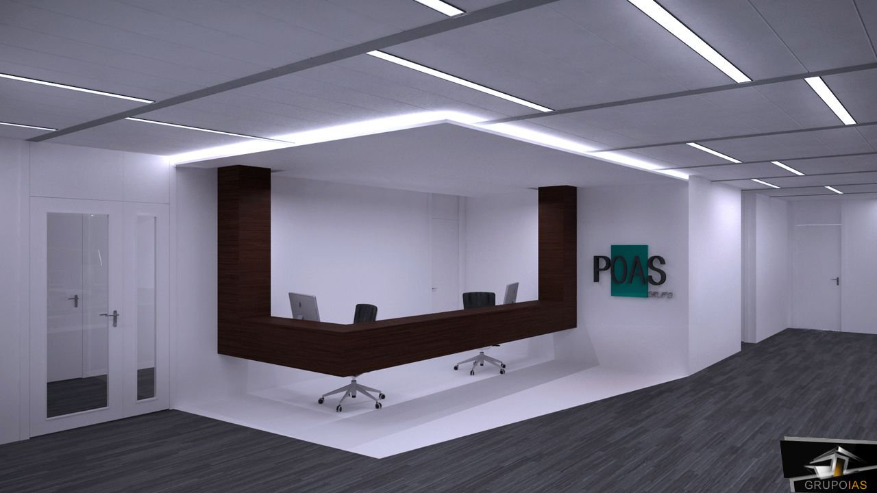 Dise o recepci n oficina moderna oficces pinterest for Iluminacion oficinas modernas