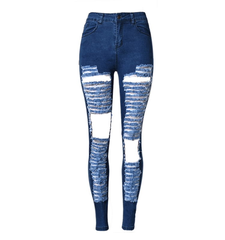 27.13$  Watch here - http://alisng.shopchina.info/go.php?t=32792649019 - Cotton Ripped Jeans For Women European Fashion Street High Waist Skinny Stretch Pencil Denim Ladies Pants Women Large Size  #aliexpress