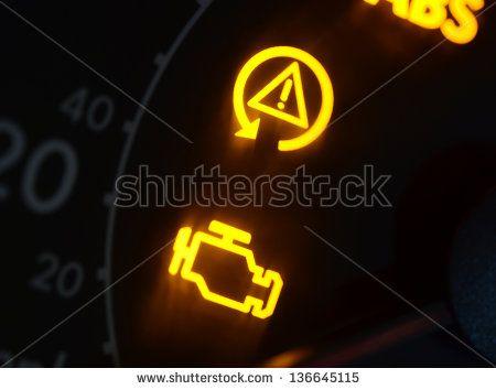 Malfunction Or Check Engine Car Symbols Dash Board Close Up Stock