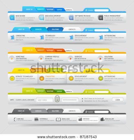 Navigation Template Web Design Template Elements With Icons Set - Website menu design templates
