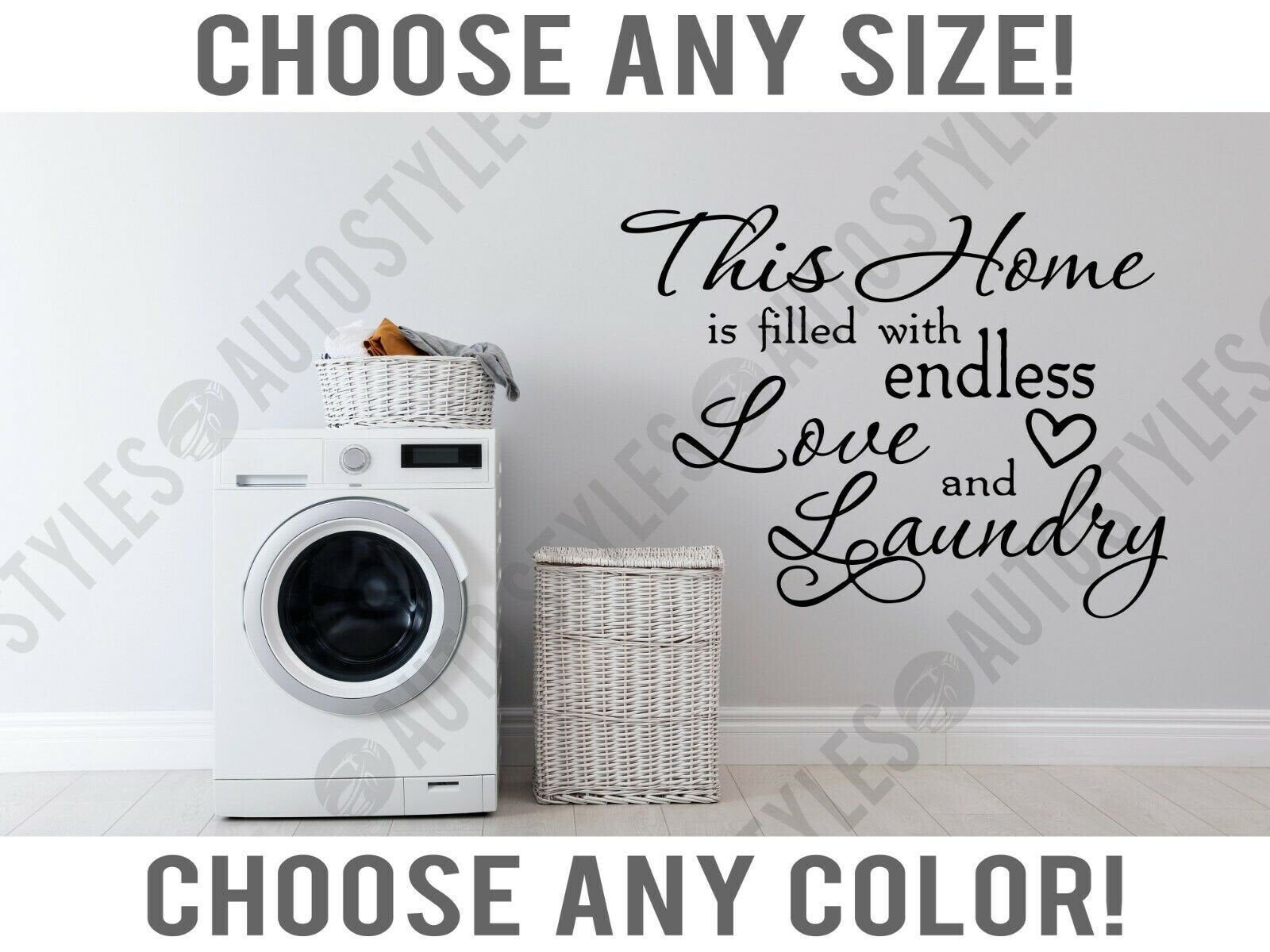 Home Filled With Endless Laundry Room Wall Decal Home Decor Vinyl Sticker With Squeegee In 2020 Wall Decals Home Decor Laundry Room