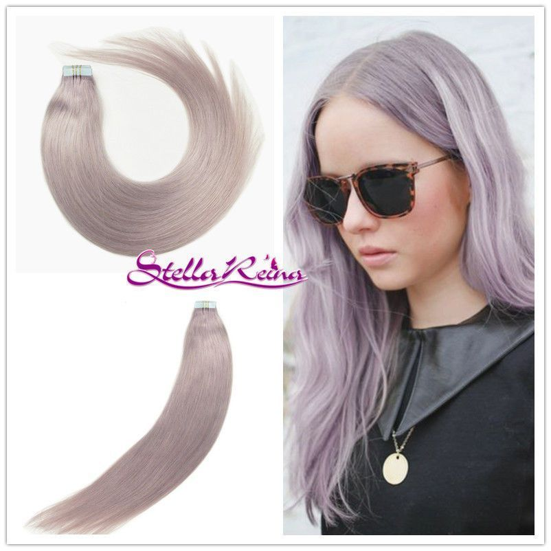 Stella Reina Tape In Milky Lavender Straight Brazilian Hair Free Dhl