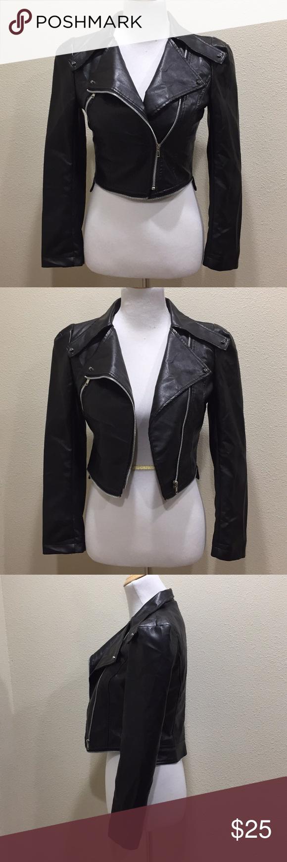 Black Faux Leather Crop Moto Jacket Cropped moto jacket