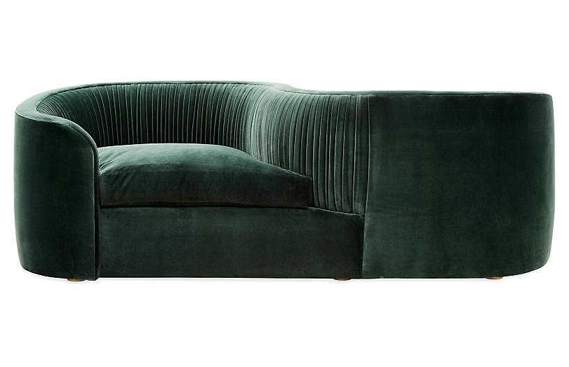 Clio Tete A Tete Forest Velvet Green Sofa Living Room Sofa