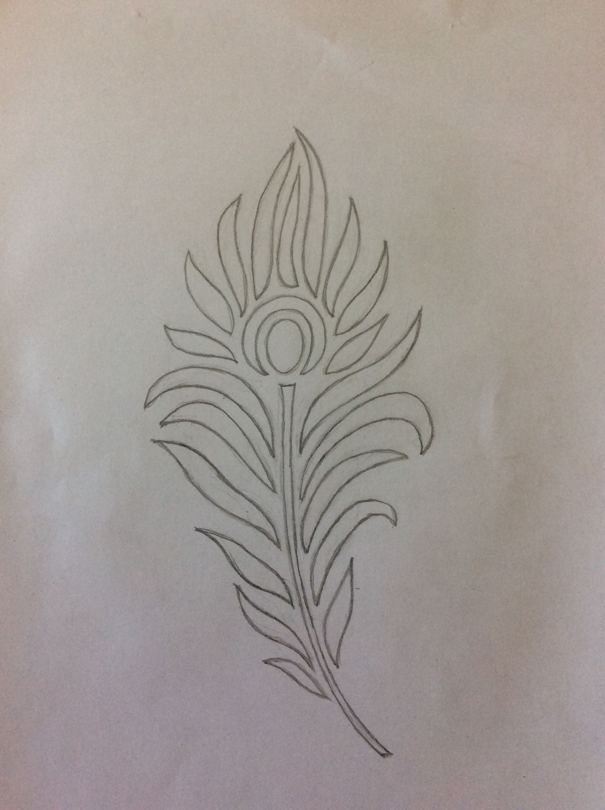 Peacock Feather Sketch For Fabric Painting Peacock Motifs