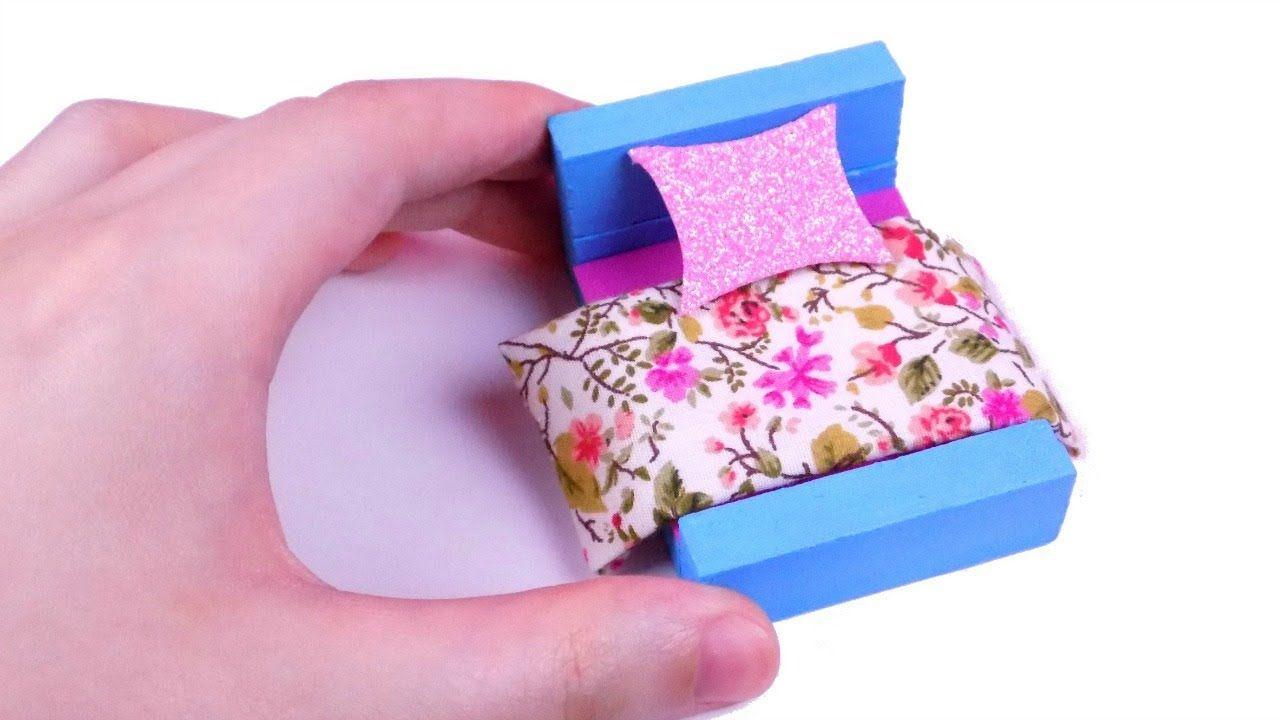 Diy Miniature Dollhouse Bed Dolls Barbie Dollhouse Mlp Lps Crafts Lps Crafts Dollhouse Miniatures Dollhouse Bed