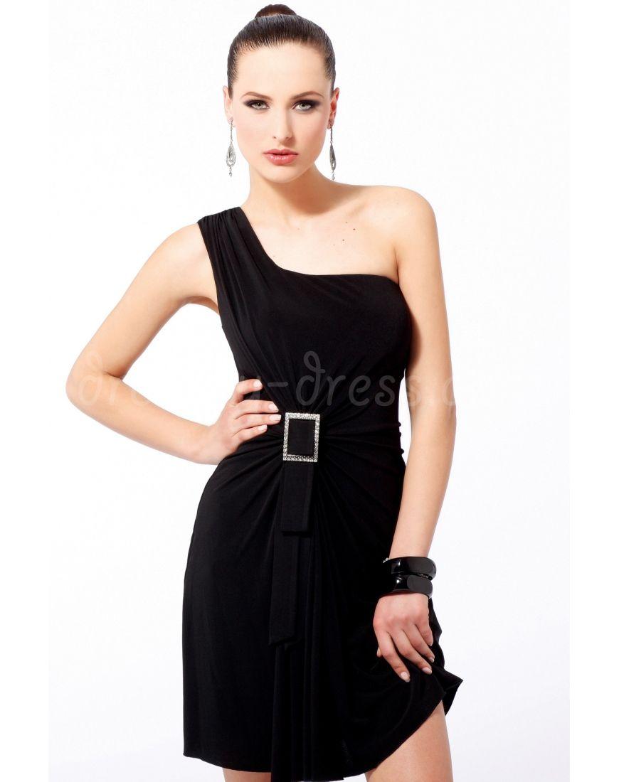 black jersey sheath one shoulder beading belt ruching short cocktail/prom dress