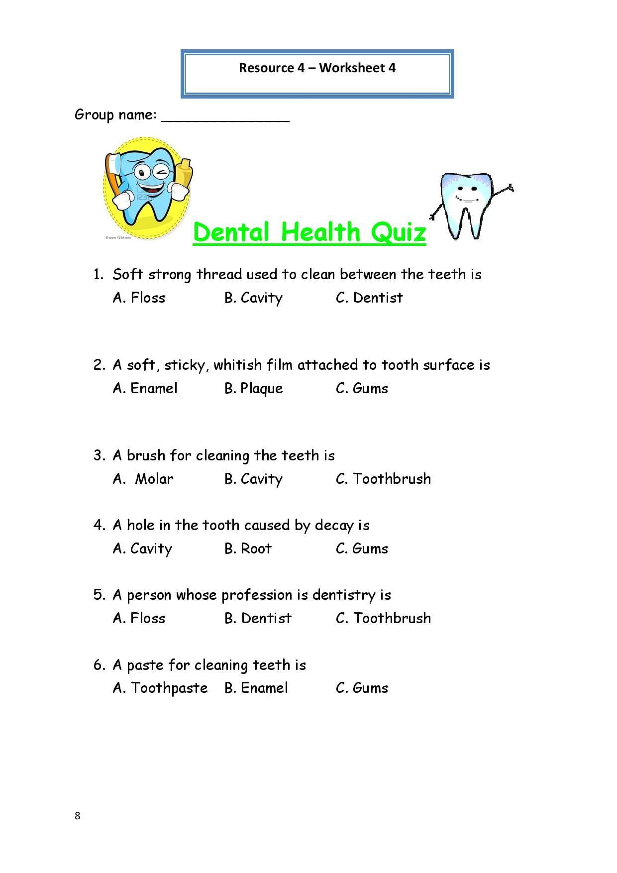 6th Grade Health Worksheets   Personal hygiene worksheets [ 1754 x 1240 Pixel ]