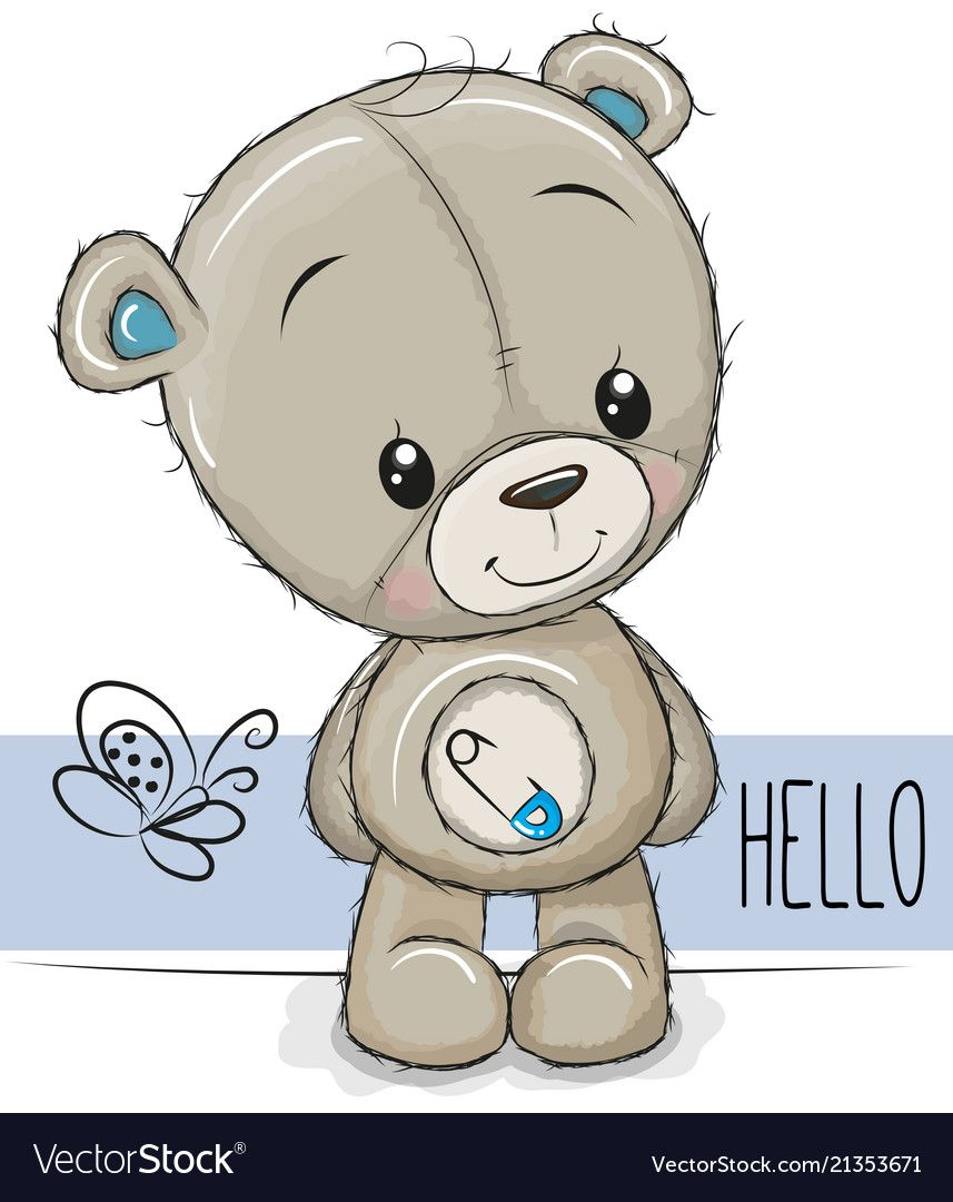 Cute Cartoon Teddy Bear On A White Background Download A Free Preview Or High Quality Adobe Illustrator Ai Eps Teddy Bear Cartoon Bear Cartoon Cute Cartoon