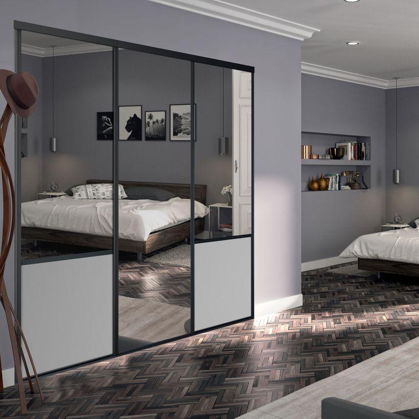 Façade De Placard Coulissante 3 Portes Miroir Plomb Décor