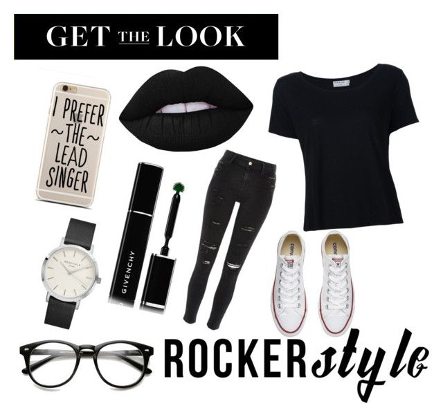 """""""Untitled #179"""" by sashabubbles ❤ liked on Polyvore featuring Frame Denim, River Island, Converse, Lime Crime, Givenchy, rockerchic and rockerstyle"""