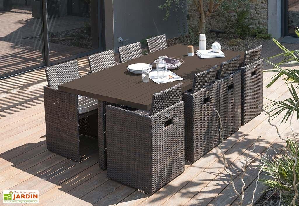 Salon de Jardin Résine Tressée Encastrable Chocolat : 1 Table + 8 Fts