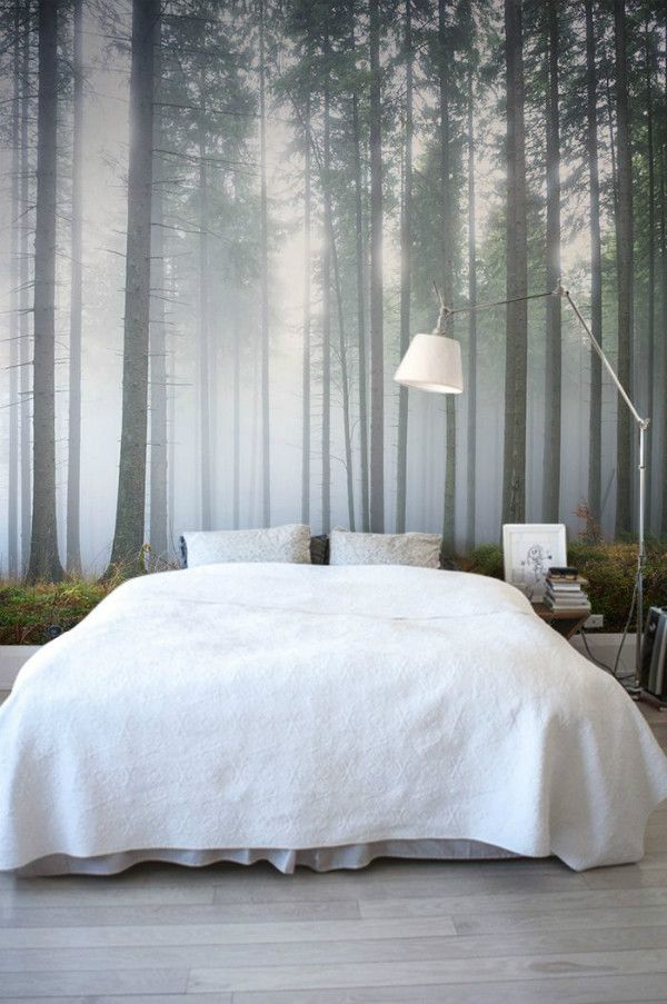 Bedroom Inspired By Nature With Forest Mural