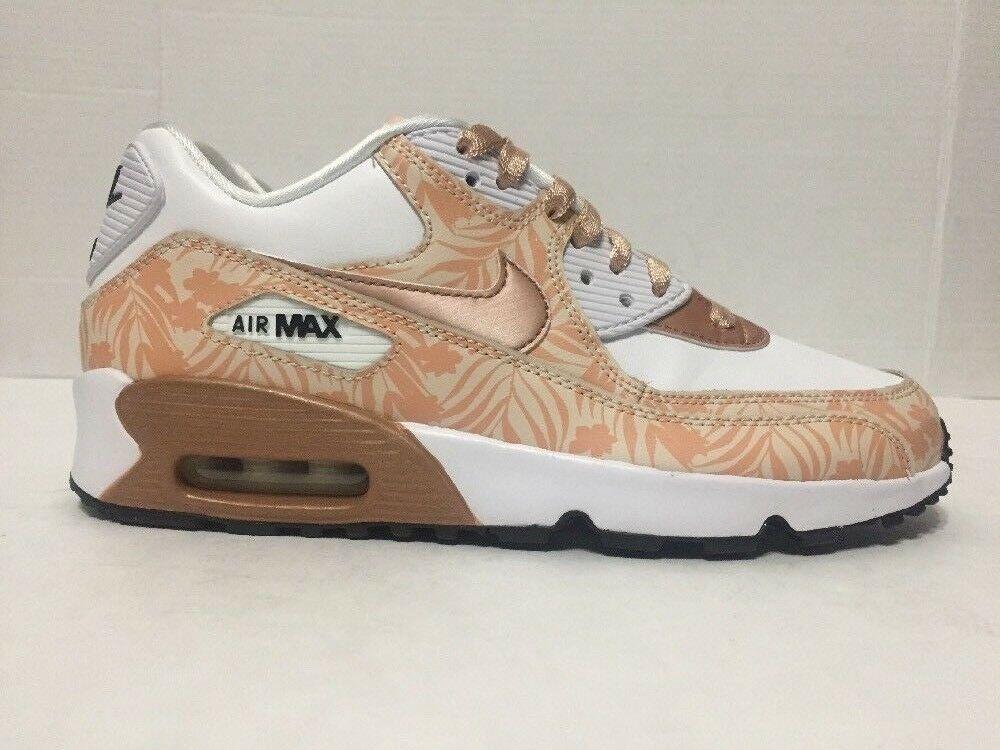 4dd57f45a41be Nike Air Max 90 GS Running Shoes White Bronze Print LTR 844616-100 ...