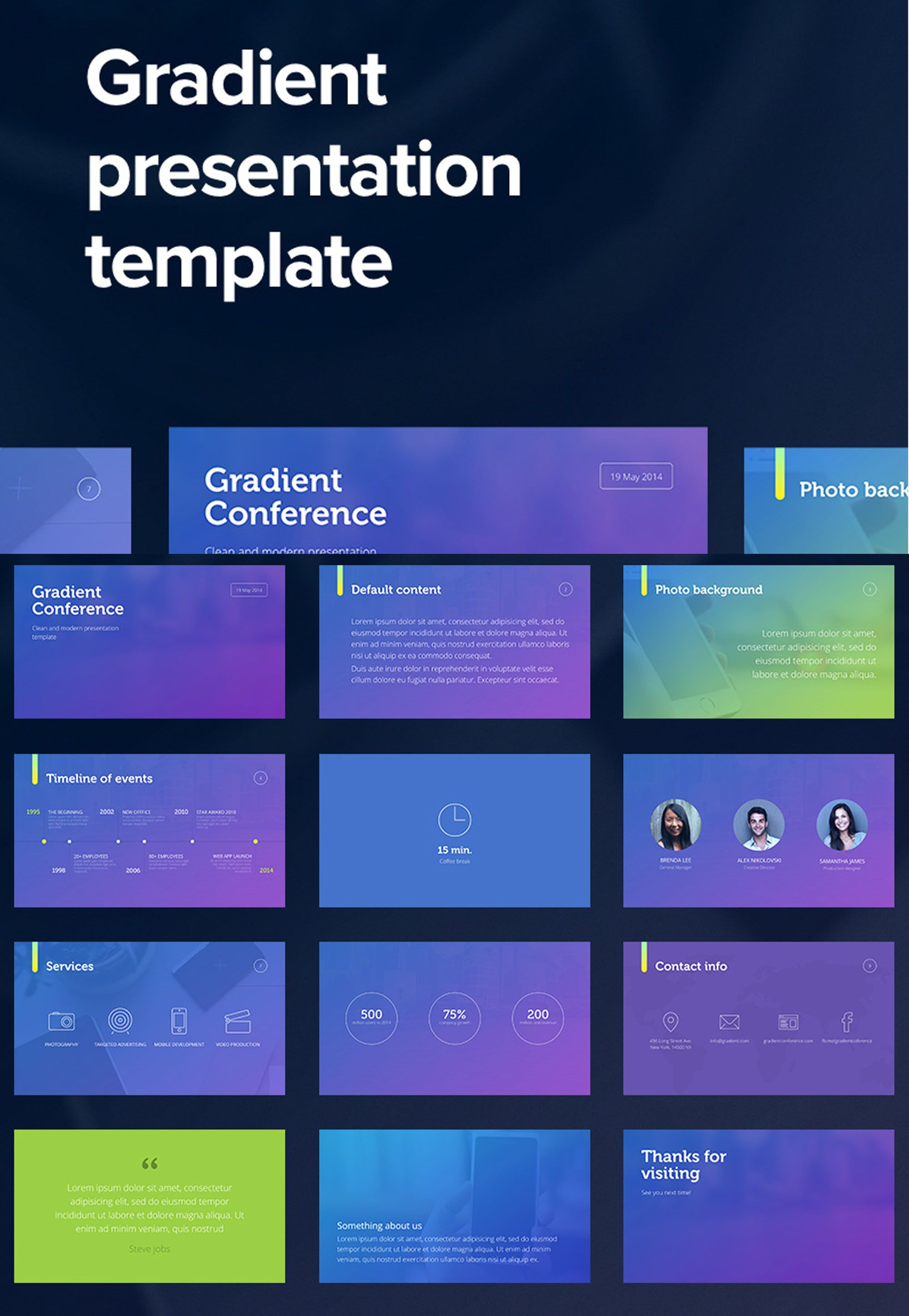 Gradient Powerpoint Template Purple Powerpoint Templates