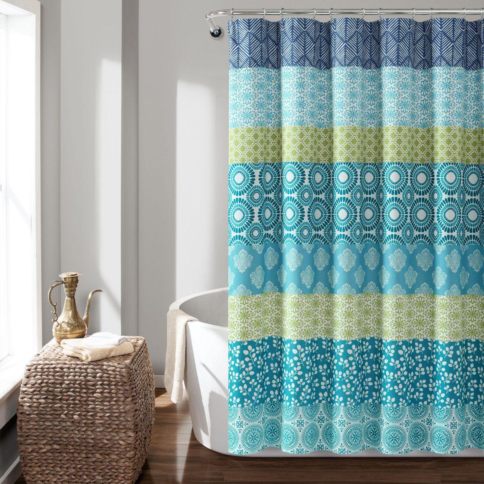 Lush Decor Bohemian Stripe Shower Curtain Blue Green Striped