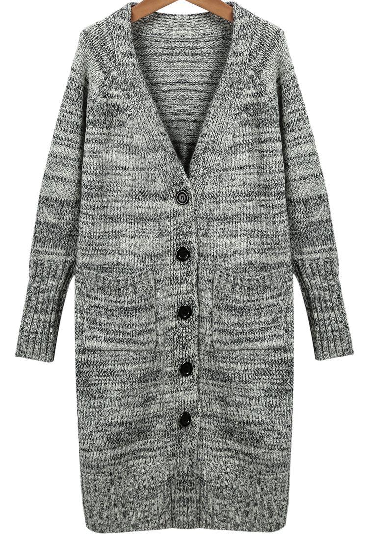 f0c980e1b2 Shop Light Grey V Neck Long Sleeve Knit Cardigan online. Sheinside offers  Light Grey V Neck Long Sleeve Knit Cardigan & more to fit your fashionable  needs.