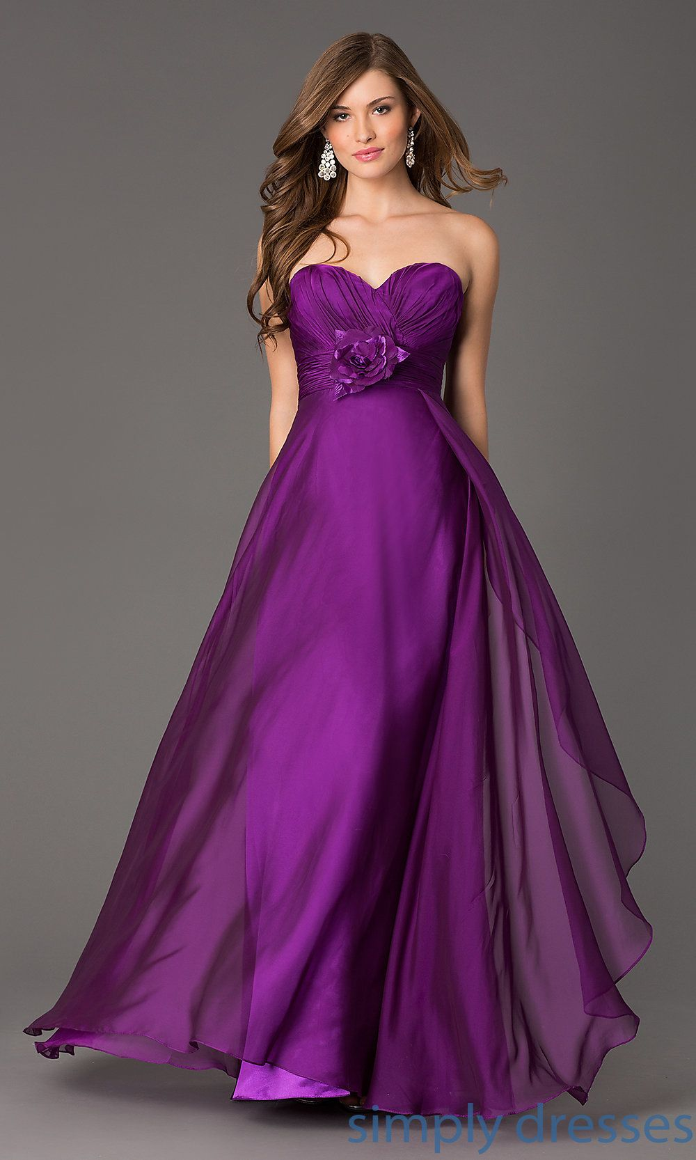 Dress, Long Strapless Chiffon Formal Gown by Alyce - Simply Dresses ...