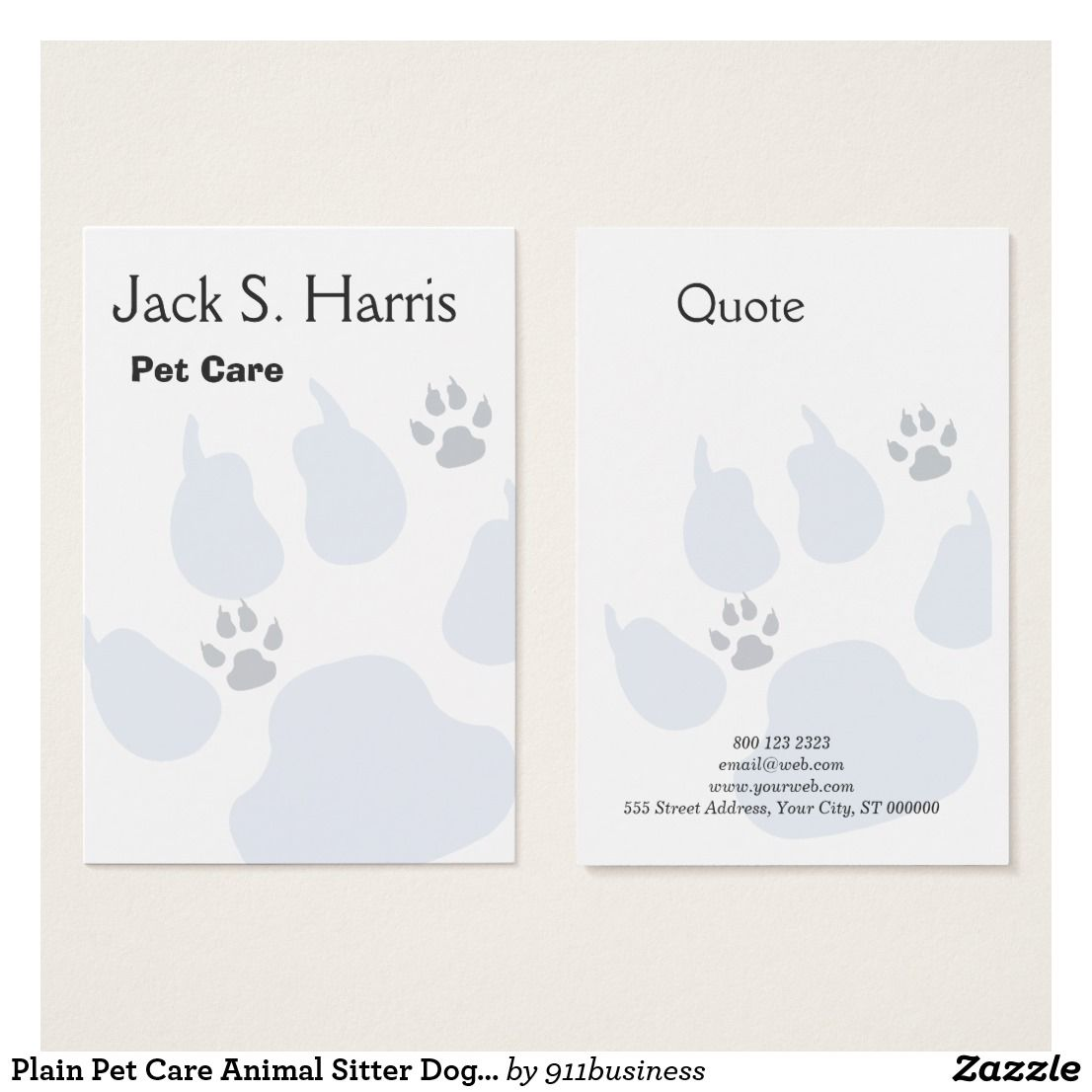 Plain Pet Care Animal Sitter Dog Cat Paw Prints Business Card Zazzle Com Cat Paw Print Printing Business Cards Pet Care