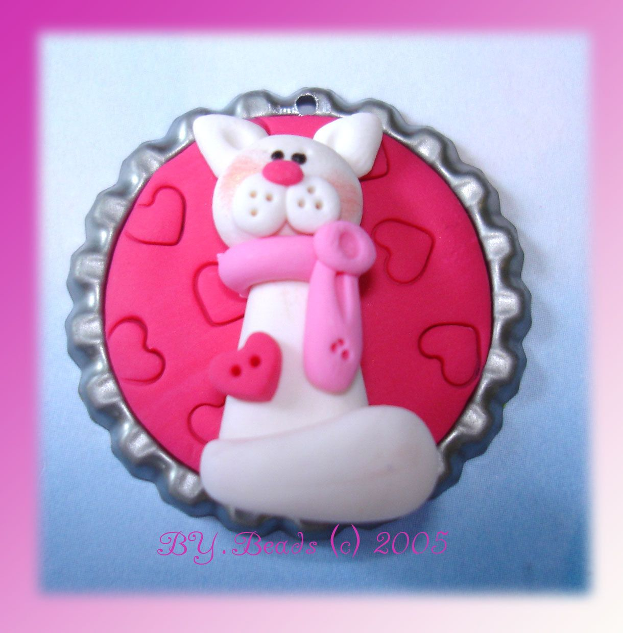 *POLYMER CLAY ~ Pink Kitty Polymer Clay Bottle Cap Bead, Scrapbooking, Bow Center, Pendant, Cupcake topper, Magnet.