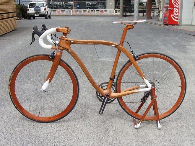 Since 2008 Sueshiro Sana, a ninth-generation Japanese shipwright, has produced eleven beautifully hand-crafted wooden bikes out of mahogany.