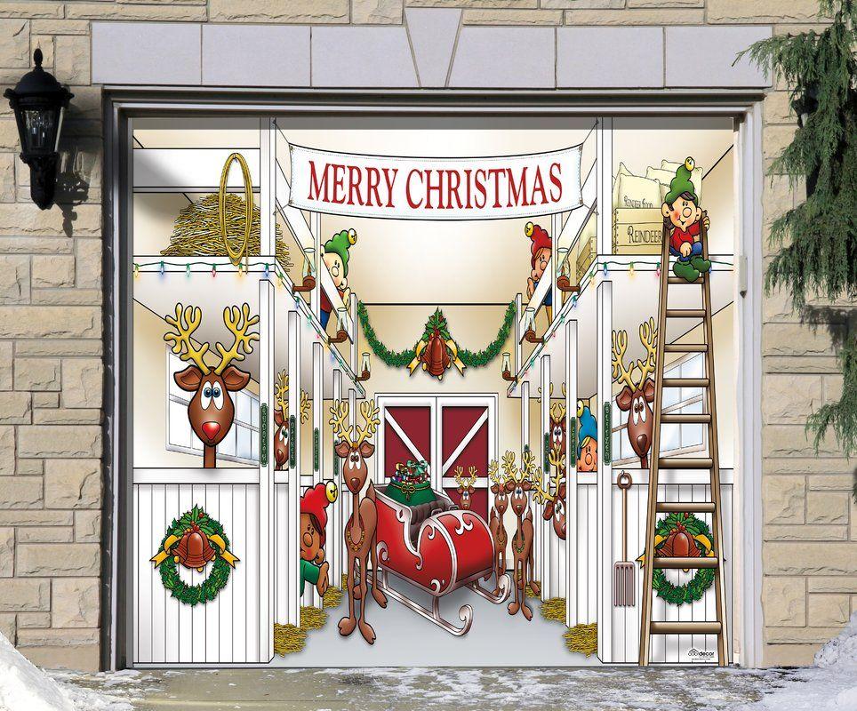 Santa S Reindeer Barn Without Santa Garage Door Mural Outdoor Christmas Decorations Door Murals Outdoor Christmas