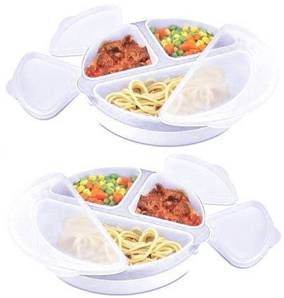 2pack eazee cook micro easy with pop out dishes microwave food storage lunch box ebay