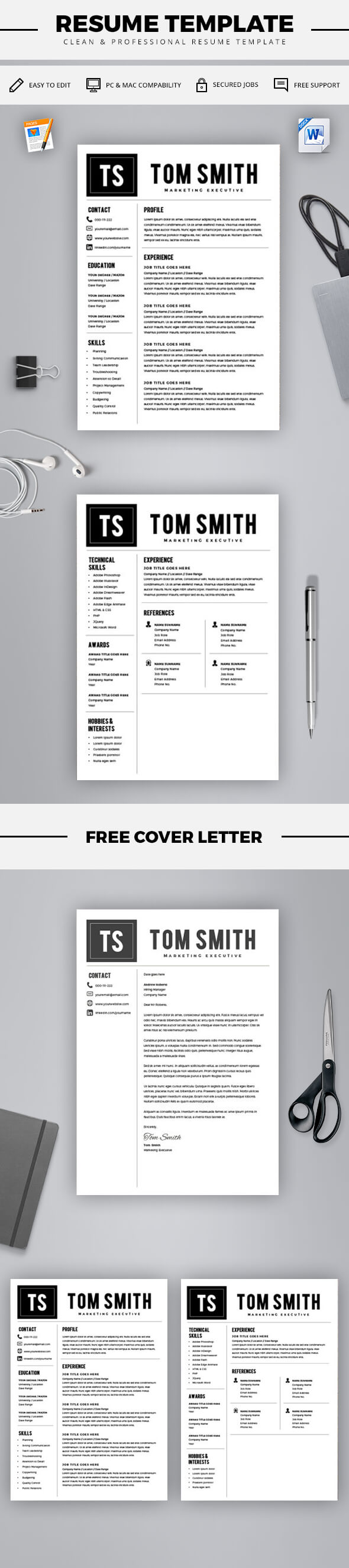 Free Cover Letter For Resume Delectable Modern Resume Template  Free Cover Letter  Cv Template  Ms Word .