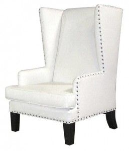 Nailhead Wingback Chair   White Leather » Designer8