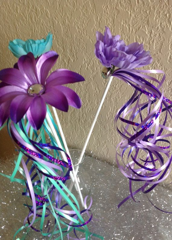 12 Little Mermaid Wands Purple Fairy Wands Ariel by partiesandfun