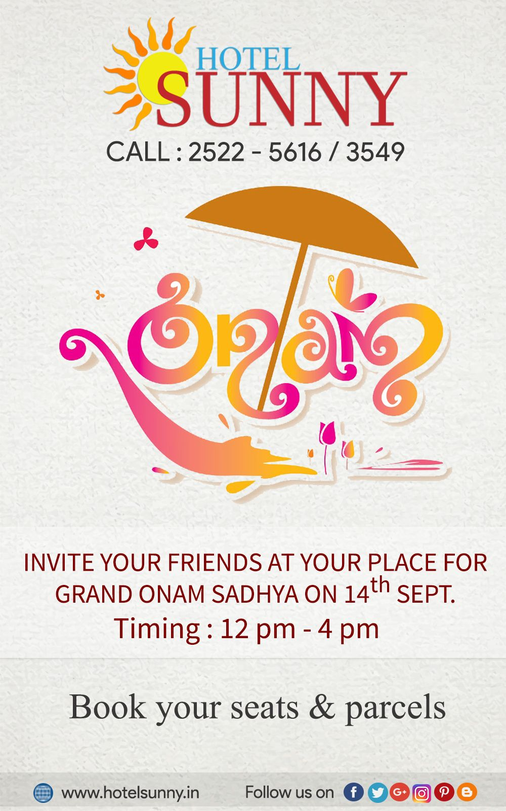 Invite Your Friends Relatives For A Grand Onam Sadhya Reservations Call