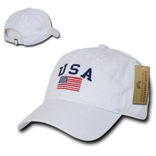 0e373ee9e10 White USA Flag Patch US American Patriotic Polo Style Baseball Cap Caps Hat  Hats