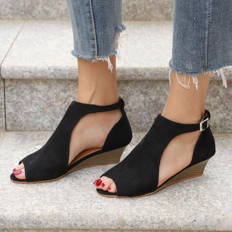 e030b48b111a Large Size Ankle Strap Peep Toe Wedge Sandals in 2019