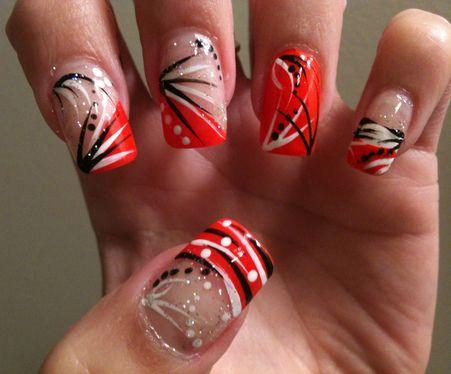 Orange Black White Nails Orange Nail Designs Nail Designs Nails
