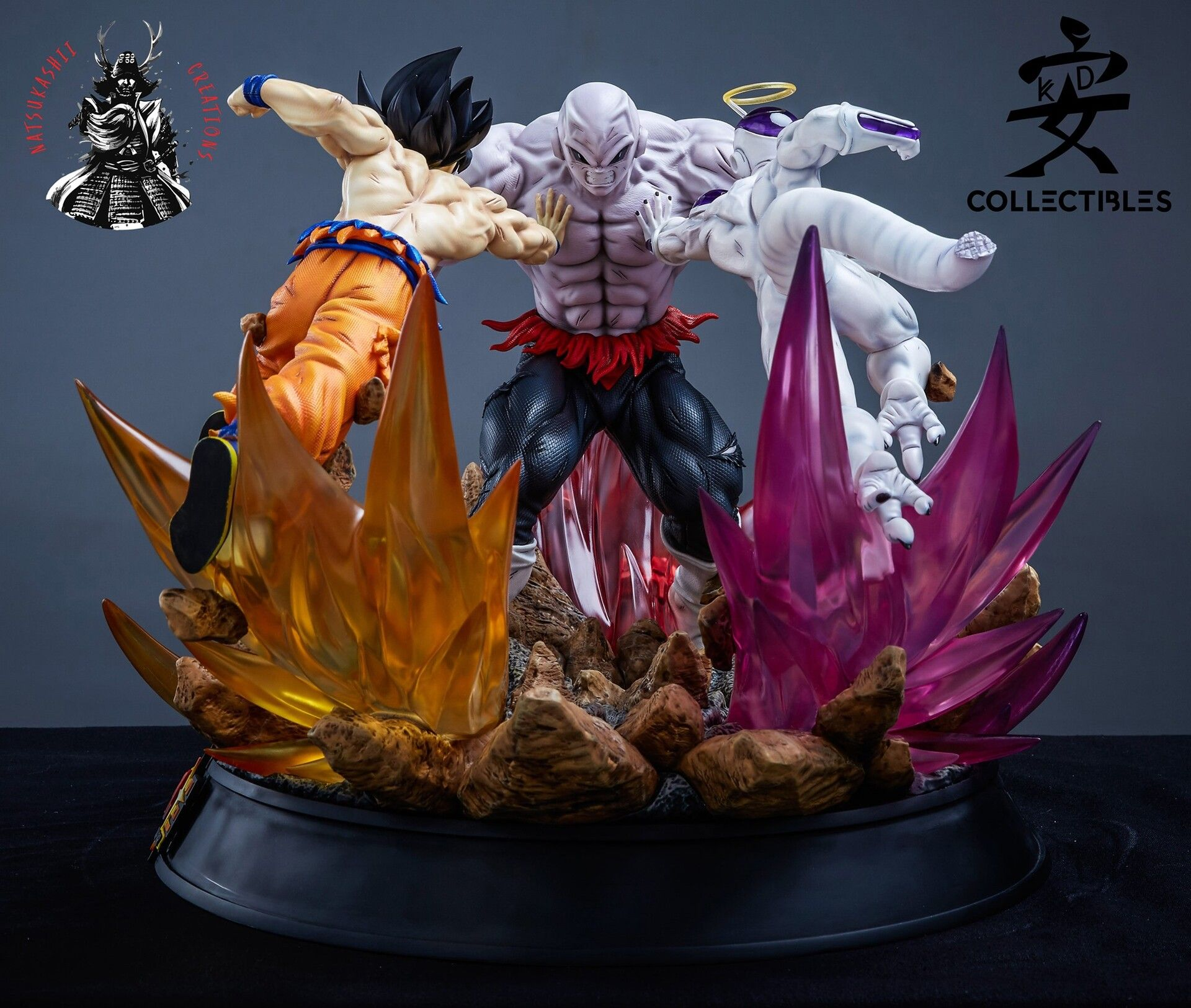 Artstation Jiren Vs Goku And Freeza 1 6 Statue Maycon Andrade Box Art Anime Creative Poses