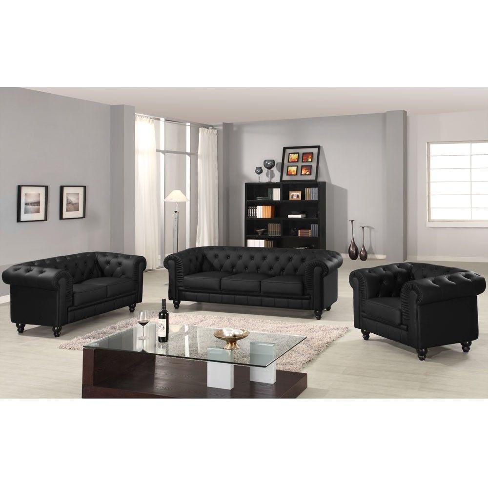 Canapé Chesterfield Places Capitonné Noir Deco Pinterest - Canapé 3 places pour decoration salon cuir noir
