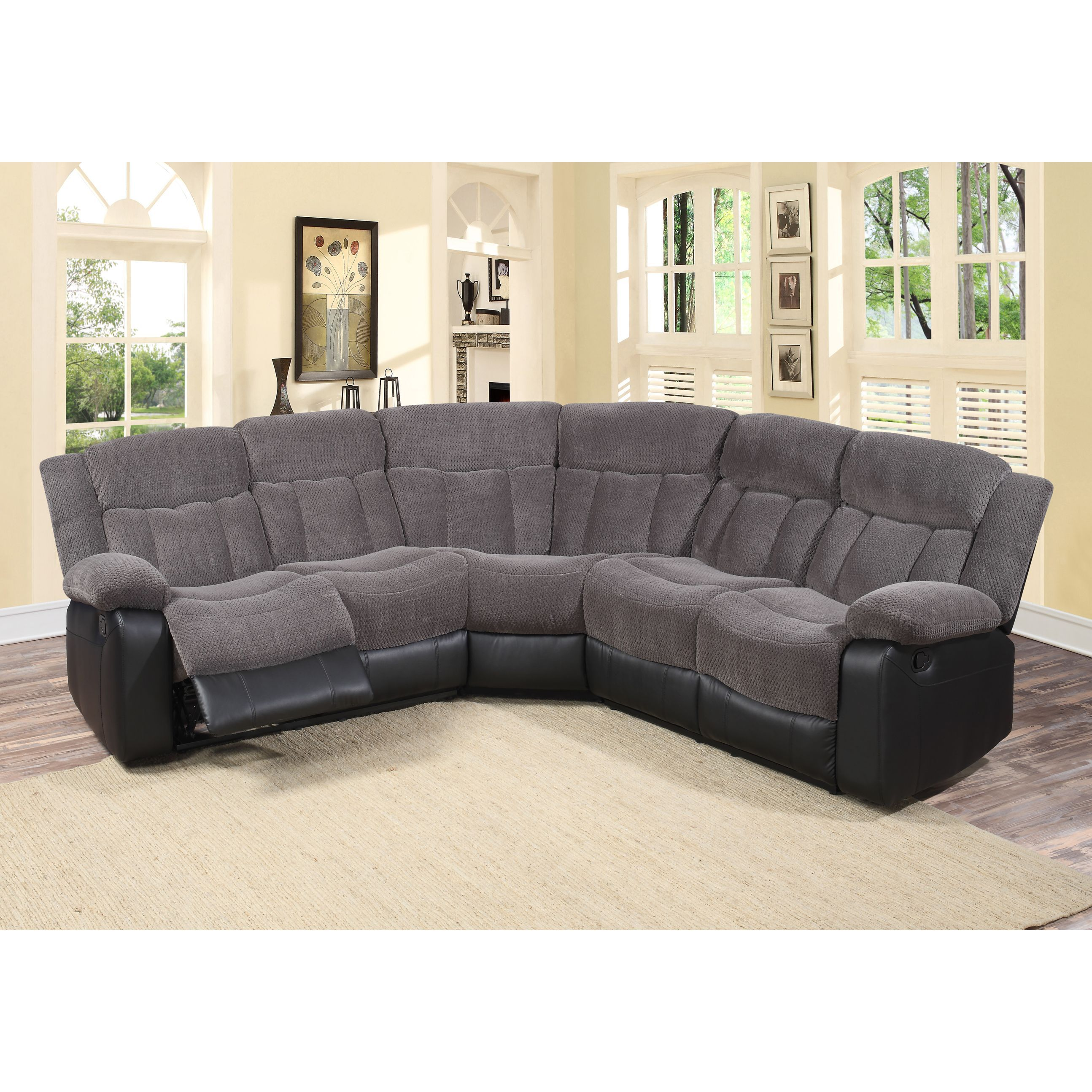 Tonnie 3 Piece And Faux Leather Reclining Sectional Living Room Sofa