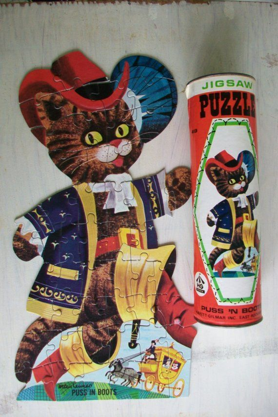 Vintage Jigsaw Puzzle Puss 'N Boots by elizabethwrenvintage