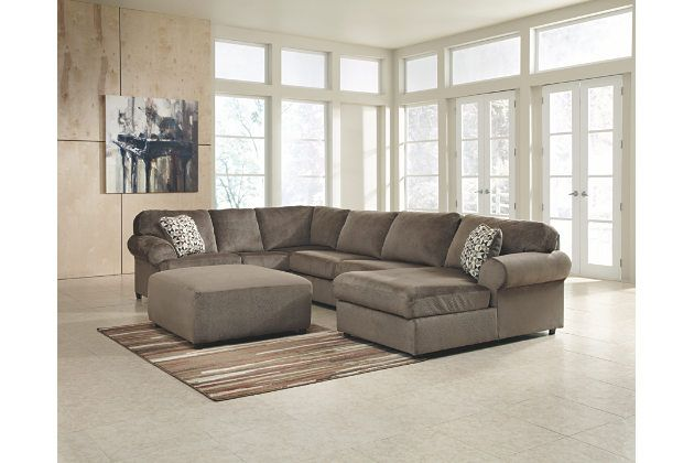Dune Brown Chaise Lounge Sofa With Matching Oversized Ottoman