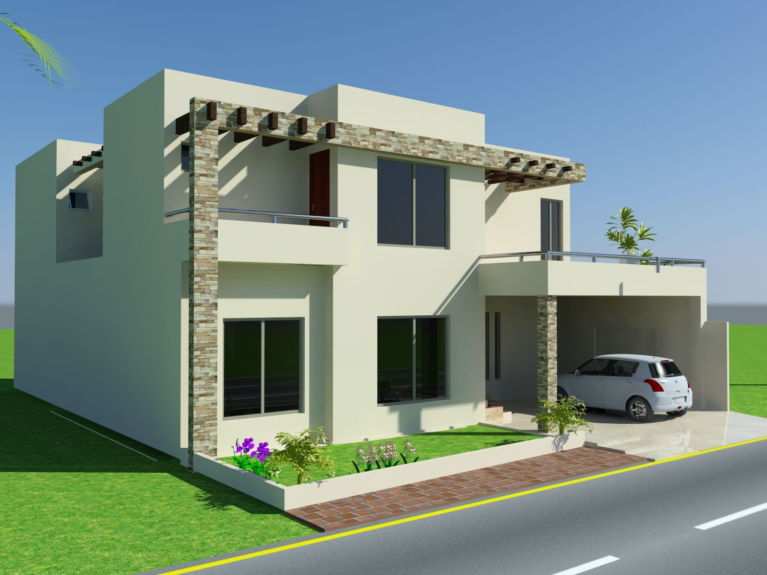 3d front elevation com 10 marla house design mian wali Wide frontage house designs