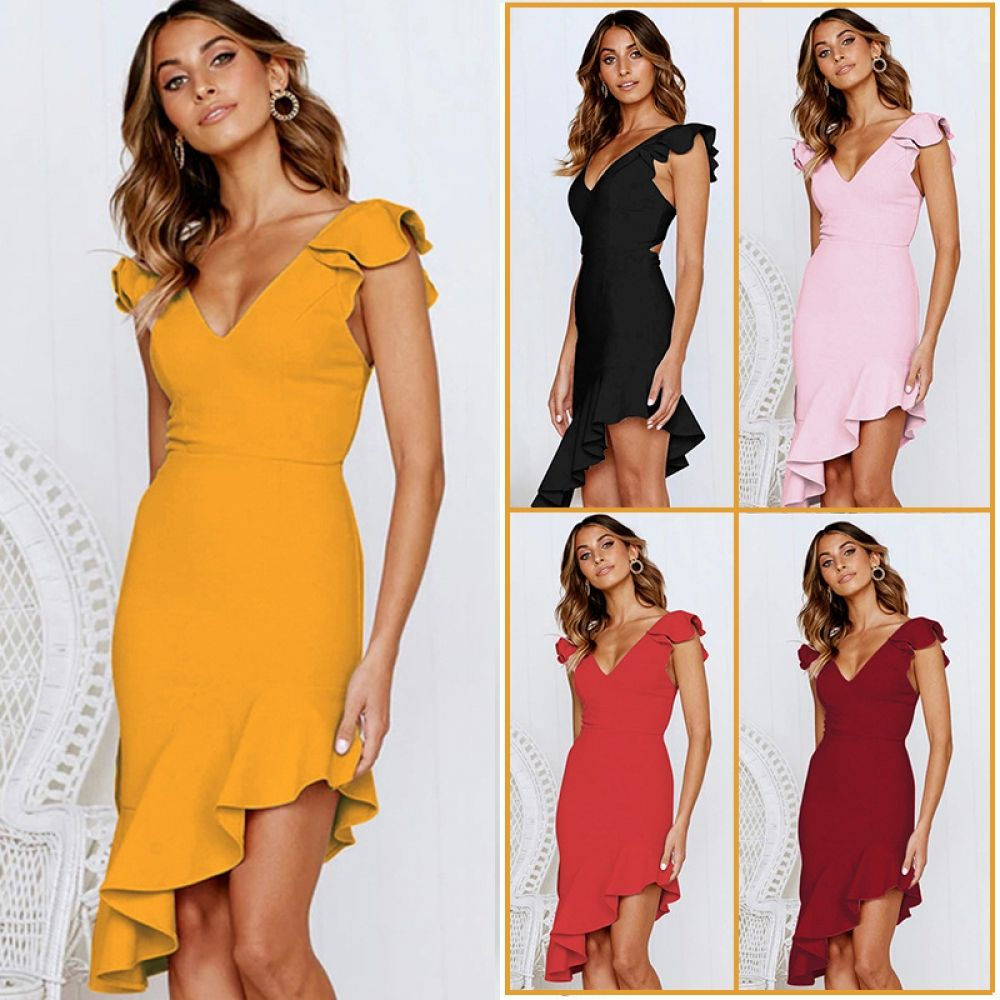 6cb3dc888c51b 2019 New Sexy Rufffles Dress Pink Yellow Wine Red Black Party Dress ...